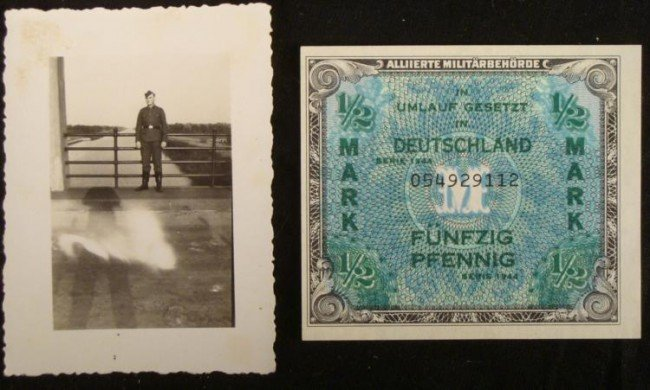 PHOTO OF NAZI WEHRMACHT NCO & 1/2 MARK NOTE 1944
