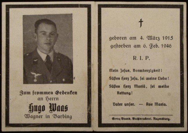 ORIGINAL NAZI DEATH CARD FOR A LUFTWAFFE OFFICER PILOT