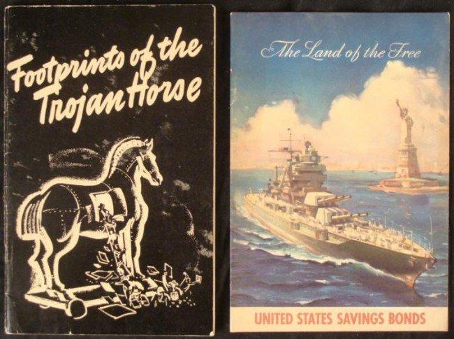 2 WWII PROPAGANDA BOOKS FOOTPRINTS OF THE TROJAN HORSE