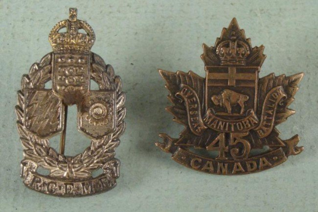 TWO WWI CANADIAN REGIMENTAL BADGES