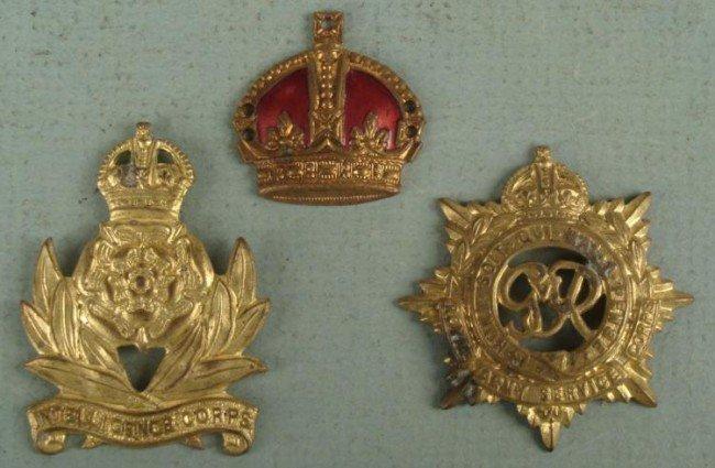 3 SEW ON BRITISH REGIMENTAL INSIGNIA BADGES