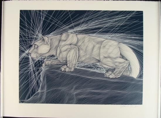 Guillaume Azoulay Signed Etching Art - Nittany Lion