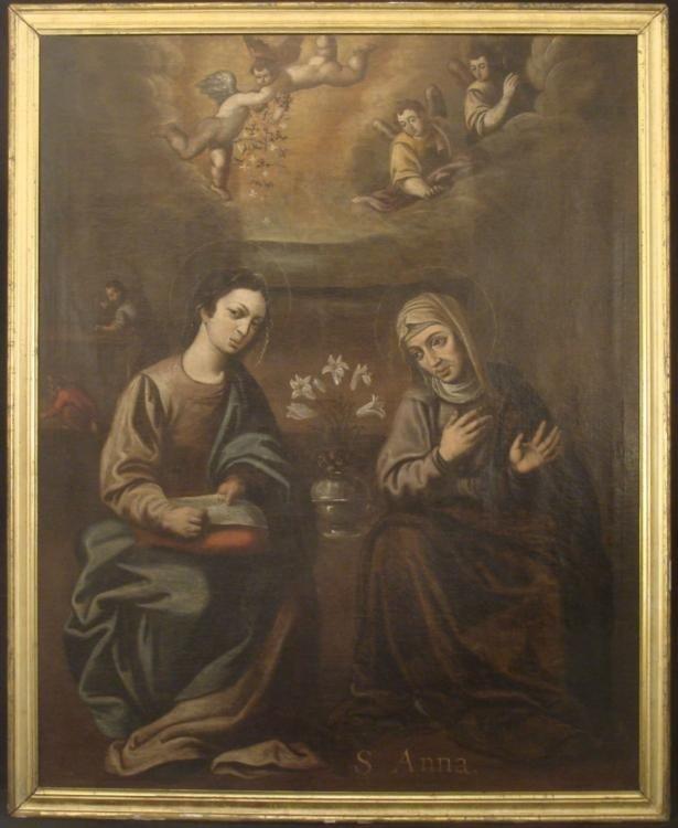 Large Antique Christian Religious Painting- Saint Anna