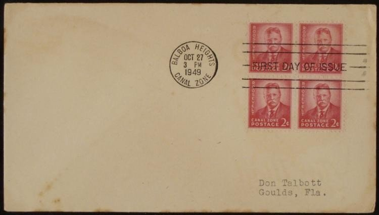 Theodore Roosevelt FDC Canal Zone 2 Cent Postage Block