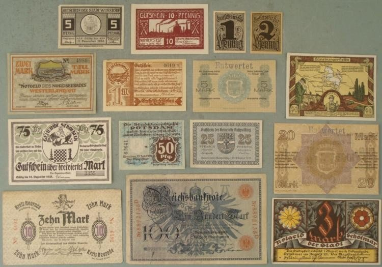 Large Lot 15 Diff Early German Paper Currency 1908-23