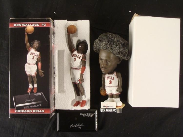 Two Chicago Bulls Ben Wallace Signed Statue Bobble head