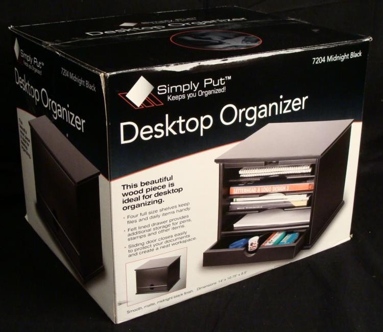 Destop Organizer Matte Black Wood Desk Storage MIB