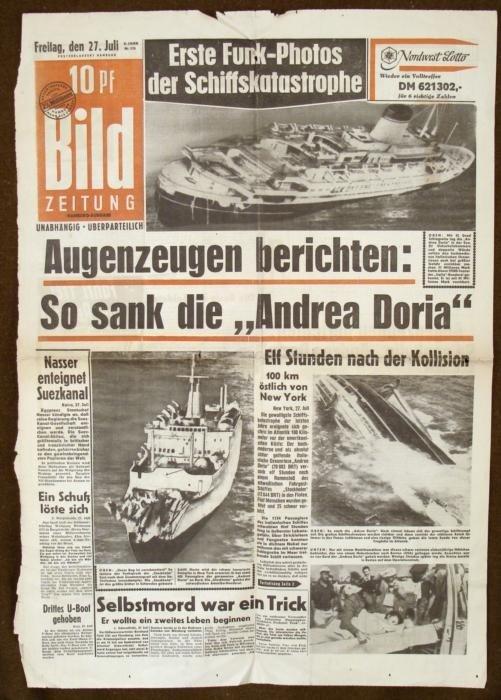 GERMAN NEWSPAPER ACCOUNT OF SINKING OF ANDREA DORIA ITA