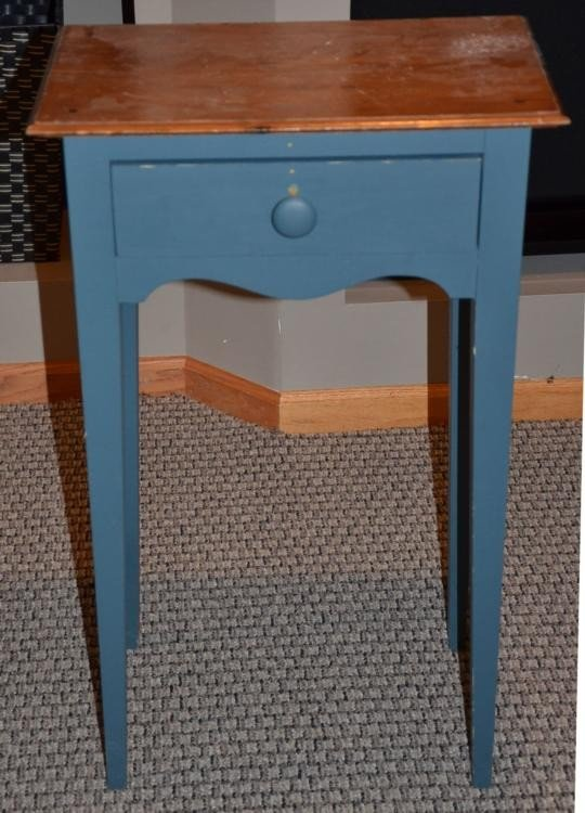 Charming Blue Country Sewing Table / Nightstand