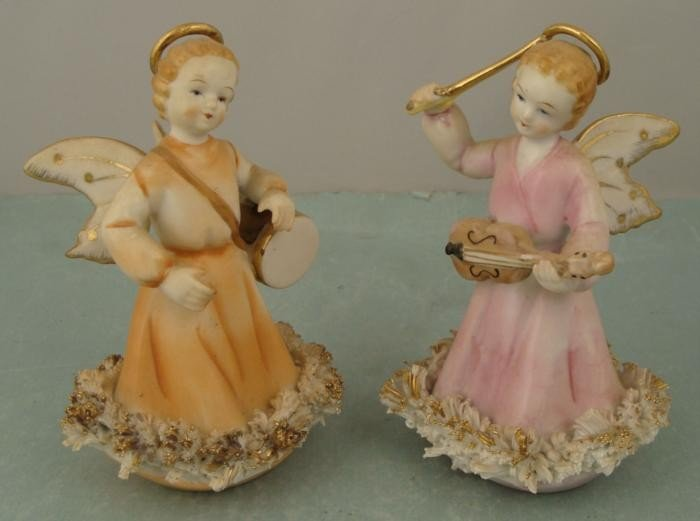 2 Vintage Ceramic Angel Figurines Playing Instruments