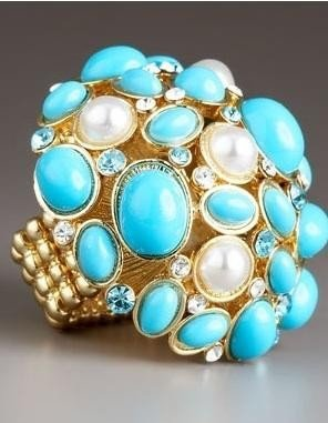 NIB Neiman Marcus Turquoise Dress Ring jewelry 6 7 8