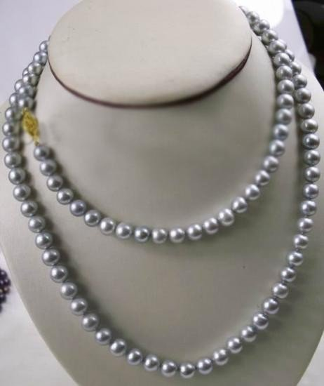 Pretty 35in Natural 7-8mm AAA+ akoya gray pearl necklac