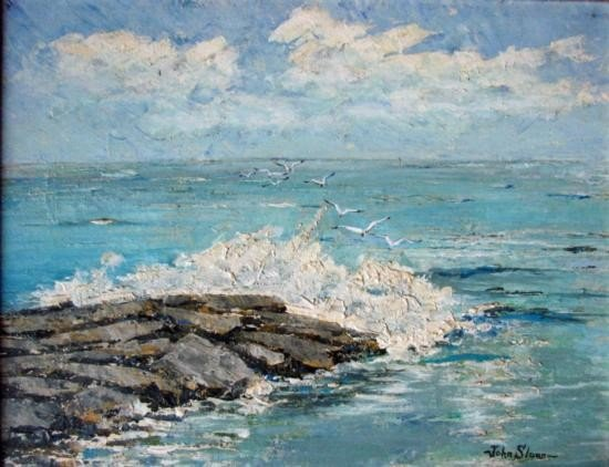 OIL ON CANVAS - An unusually fine and detailed seascape