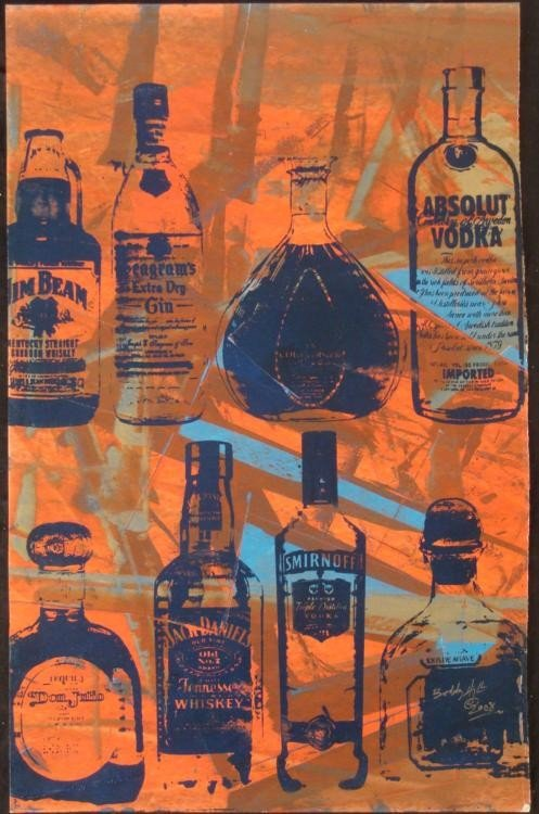 Bobby Hill Original Signed Painting Bottles Red