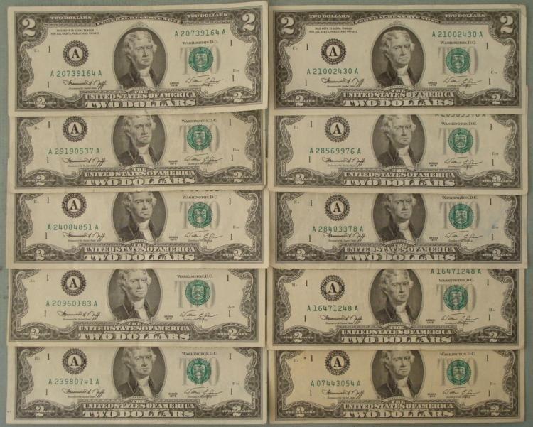 10) 1976 $2 Notes A Mint Mark Boston- Nice Bills