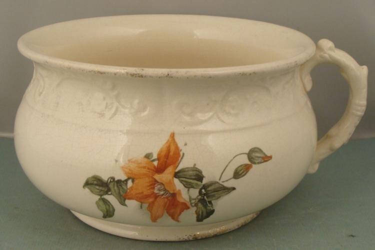 Large Vintage Ceramic Floral One Handled Washing Bowl