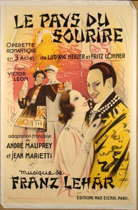 Le Pays Du Sourire Original Vintage French Opera Poster