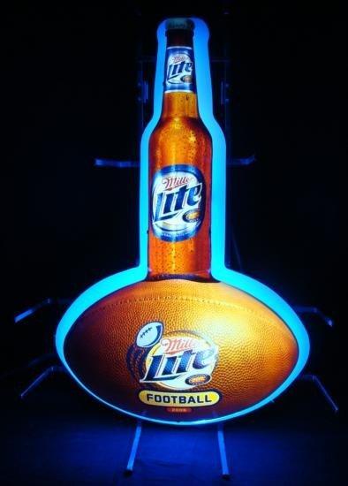 Miller Lite Beer Football Neon Bar Sign Ball Bottle