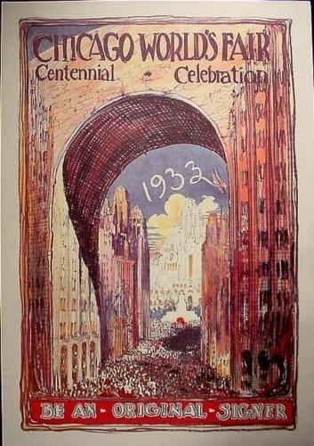 Huge 1933 Chicago Worlds Fair Century Art Poster