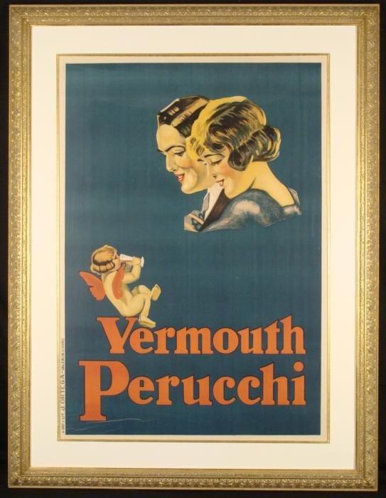 Vermouth Perucchi Vintage Spanish Liquor Poster Ortega