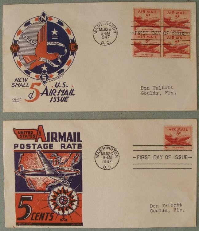 2 First FDC Air Mail First Day Covers 1947