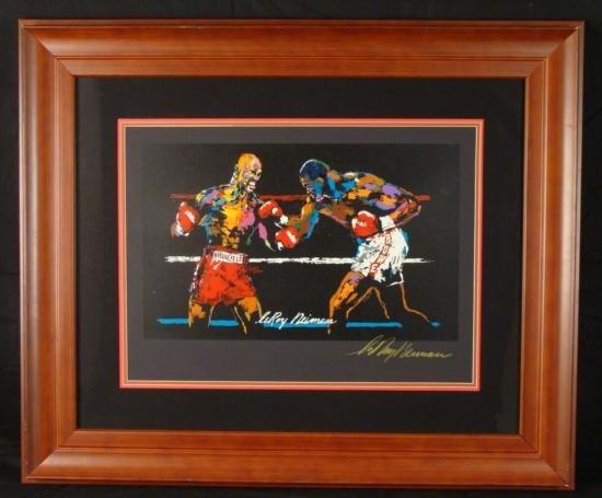 LeRoy Neiman Signed Boxing Print Holyfield vs. Bowe