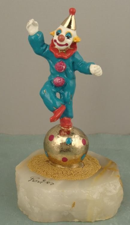 Ron Lee Signed Circus Clown On Ball Figurine Sculpture
