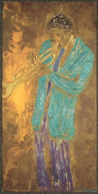 Andre Guichard Original Art Print Jazz Trumpeter