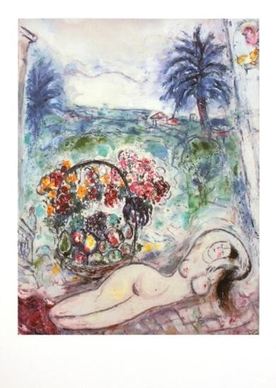 Chagall Nude with Flowers Poster