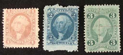 3 Washington Proprietary Stamps 1 2 Cents IRS