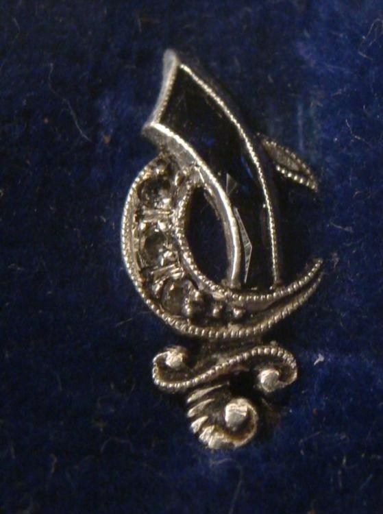 Diamond & Black Onyx Masonic Pin