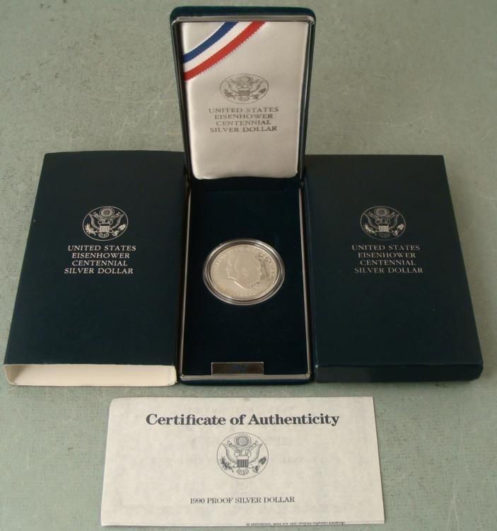 1990 Eisenhower Proof Centennial Silver Dollar Coin