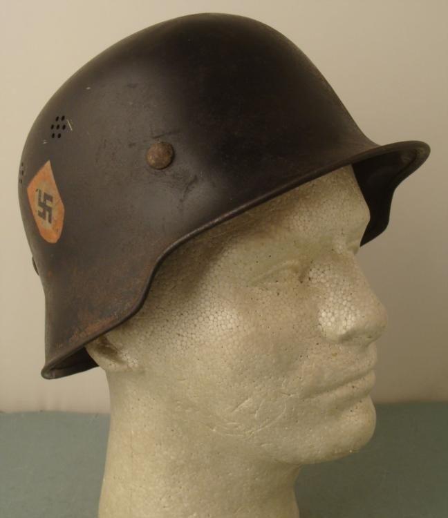 ORIGINAL NAZI DOUBLE DECAL POLICE BLACK HELMET W/LINER
