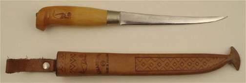 VINTAGE FINNISH FISH KNIFE -ENGRAVED W/LEATHER SHEATH
