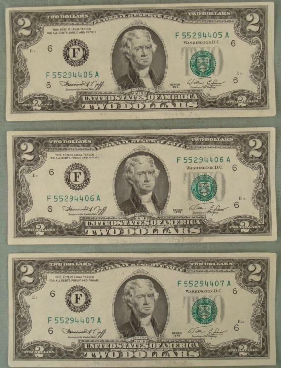 3 UNC Consec # 1976 $2 Bills, Notes F Mint Atlanta