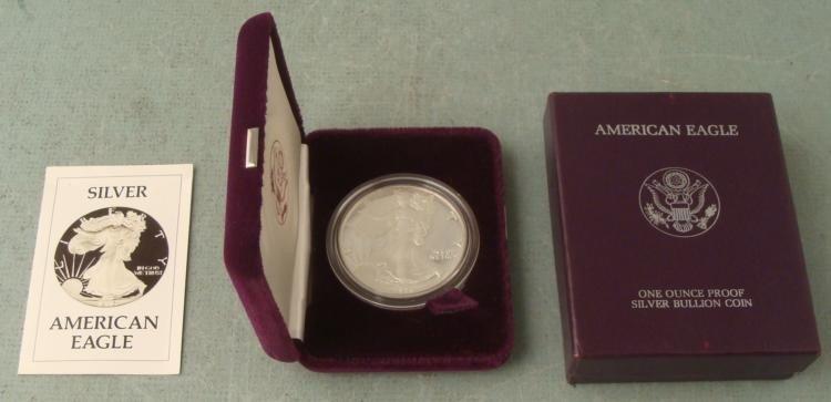 1992 American Silver Eagle Dollar $1 Proof w/Box, COA