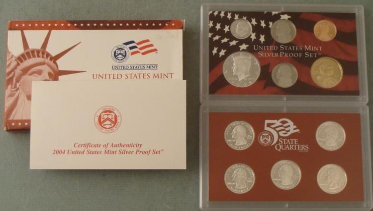 2004 11 Pc US Mint Silver Proof Set- Original Box, COA