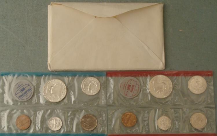 1964-P D 10 Pc UNC US Silver Mint Set-Sealed w/Envelope