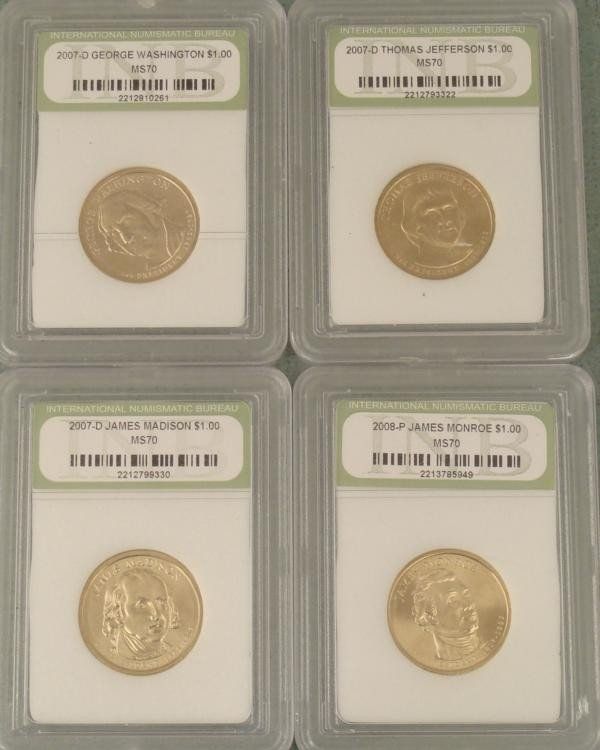 4 Presidential Gold Finished MS70 2007-08 Sharp Coins