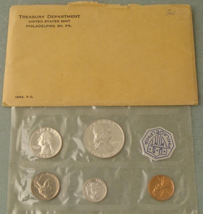 1963 US Silver Proof Set in Orig Mint Envelope, Sealed