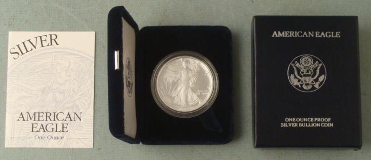 1999 American Silver Eagle Dollar $1 Proof w/Box, COA