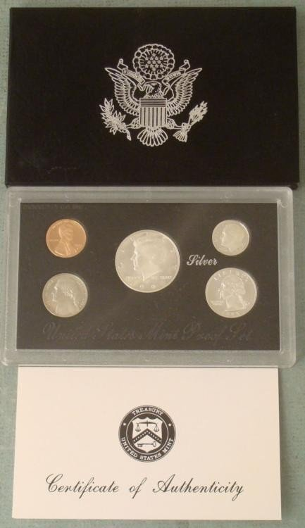 1997 5 Pc US Mint Silver Proof Set- Original Box, COA