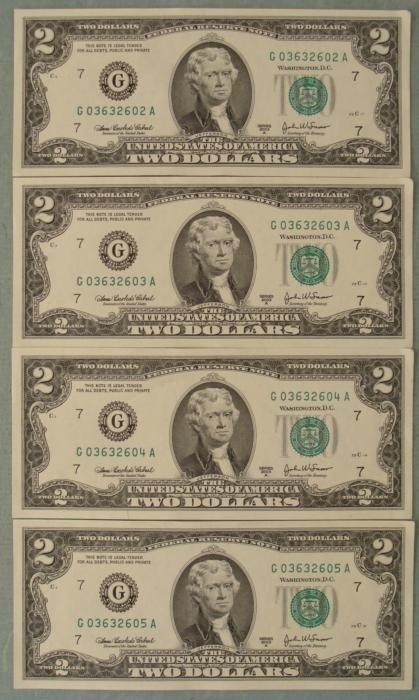 4 Consec # 2003A $2 Notes G Mint Bills Chicago CU