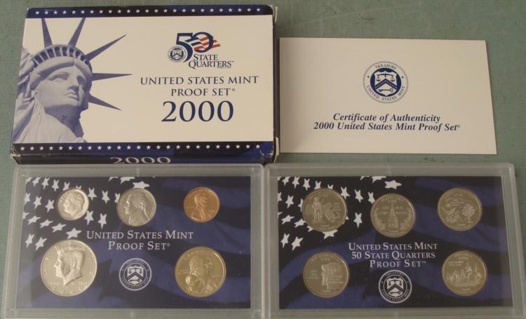 2000 10 Pc US Mint Proof Set in Original Box w/ COA