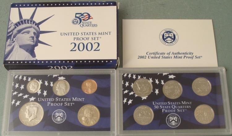 2002 10 Pc US Mint Proof Set in Original Box w/ COA