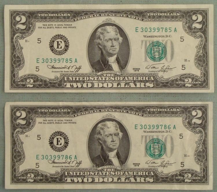 2 Consec Numbered 1976 $2 Bills, Notes E Mint Richmond