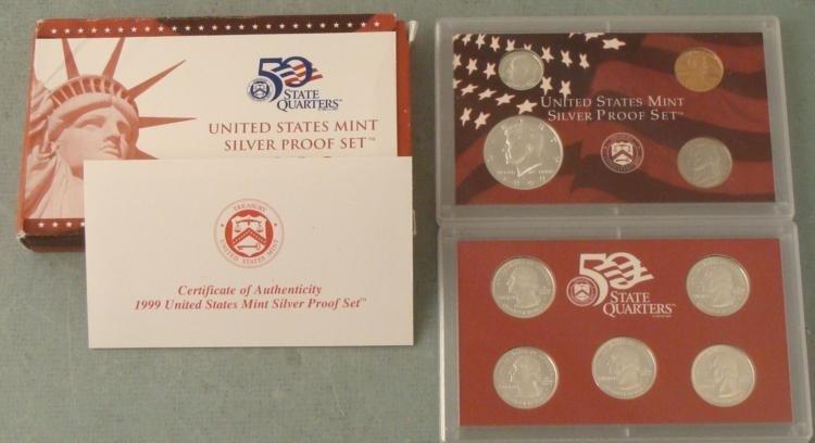 1999 9 Pc US Mint Silver Proof Set- Original Box, COA