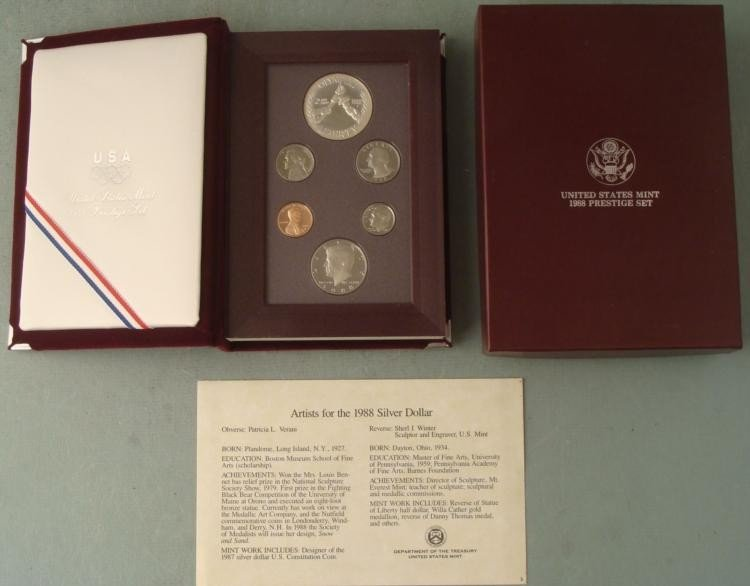 1988 US Mint Olympic Prestige Set w/Silver Dollar, COA