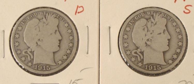 2 Barber Silver Half Dollars 1915-D & 1915-S
