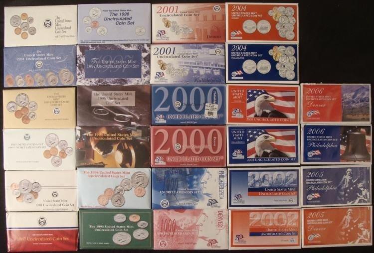 20 UNC US Mint Sets 1987-2006-P, D Sealed, In Envelopes